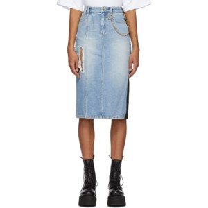 SJYP Blue Denim and Faux Leather Pencil Skirt