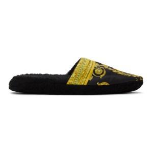 Versace Underwear Black Baroque Slippers