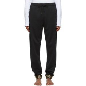 Versace Underwear Black Greek Key Cuff Lounge Pants