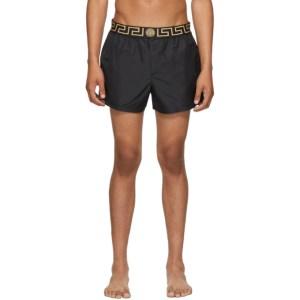 Versace Underwear Black Greek Key Swim Shorts