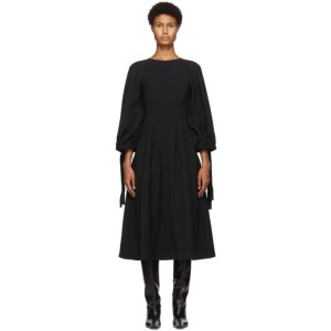 Edit Black Drawcord Mid-Length Dress