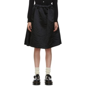 Comme des Garcons Girl Black Satin Ruffle Hem Skirt