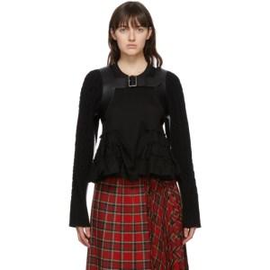 Noir Kei Ninomiya Black Wool and Leather Cable Knit Cardigan