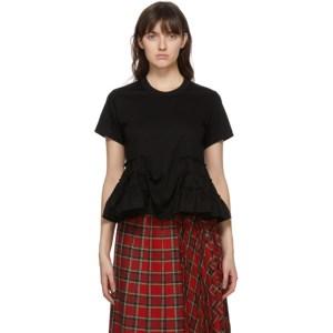 Noir Kei Ninomiya Black Ruffle Hem T-Shirt