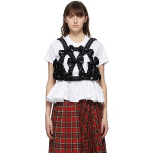 Noir Kei Ninomiya Black Faux-Leather Bow Harness