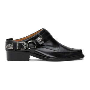 Toga Virilis Black Leather Buckle Loafers