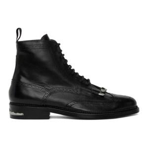 Toga Virilis Black Leather Fringed Boots