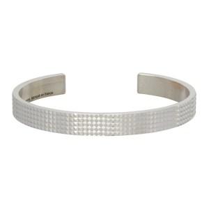 Le Gramme Silver Polished Guilloche Pyramide Le 23 Grammes Ribbon Bracelet