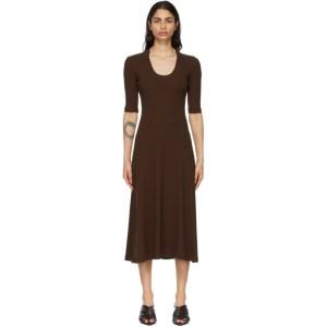 Rosetta Getty Brown Cropped Sleeve U-Neck T-Shirt Dress