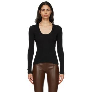 Rosetta Getty Black U-Neck Long Sleeve T-Shirt