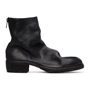 Guidi Black Back Zip-Up Heel Boots
