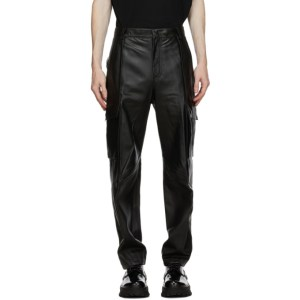 Wooyoungmi Black Leather Cargo Pants