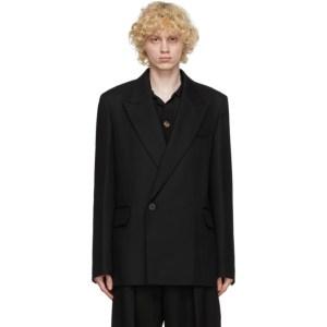 Wooyoungmi Black Wool Peaked Lapel Blazer