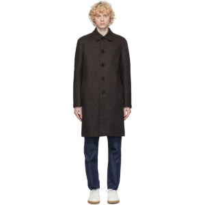Harris Wharf London Brown and Blue Wool Double Face Twill Coat