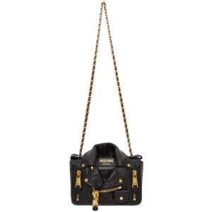 Moschino Black Biker Jacket Shoulder Bag