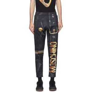 Moschino Black Macro Biker Jogger Sweatpants