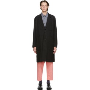Issey Miyake Men Black Gabardine Coat