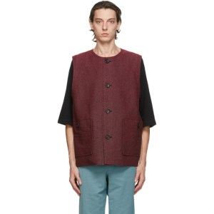 Issey Miyake Men Pink and Black Washi Sashiko Vest