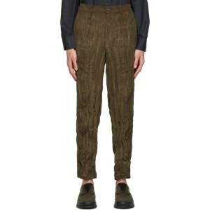 Issey Miyake Men Khaki Corduroy Twisted Trousers