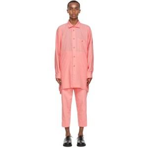 Issey Miyake Men Pink Drop Shoulder Shirt