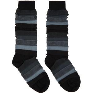 Issey Miyake Men Black Short Stepborder Socks