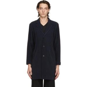 Homme Plisse Issey Miyake Navy Basic Long Coat