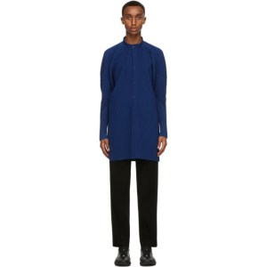 Homme Plisse Issey Miyake Blue Monthly Colors August Collarless Shirt