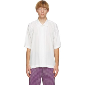 Homme Plisse Issey Miyake White Edge Short Sleeve Shirt