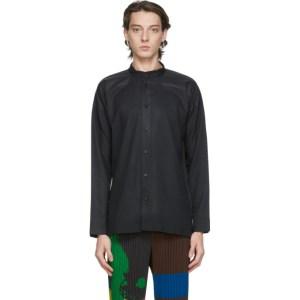 Homme Plisse Issey Miyake Black Collarless Press Shirt