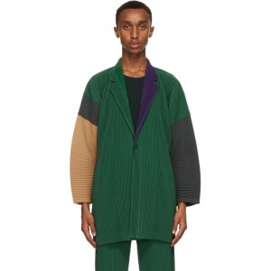 Homme Plisse Issey Miyake Green and Grey Tailored Pleats Blazer