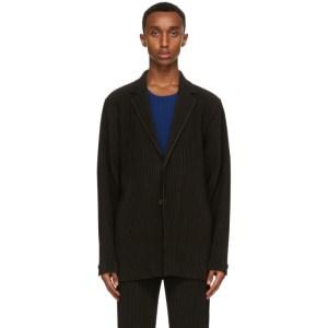 Homme Plisse Issey Miyake Brown Tailored Pleats Blazer