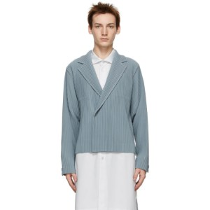 Homme Plisse Issey Miyake Grey Tailored Pleats Double-Breasted Blazer
