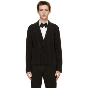 Homme Plisse Issey Miyake Brown Tailored Pleats Double-Breasted Blazer