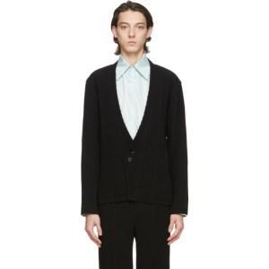 Homme Plisse Issey Miyake Black Cardigan Tuxedo Blazer