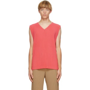 Homme Plisse Issey Miyake Pink Colorful Pleats Tank Top