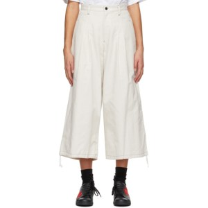 Ys Off-White Back Tuck Trousers