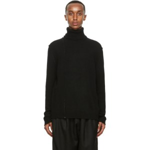 Isabel Benenato Black Alpaca Contrast Stitch Sweater