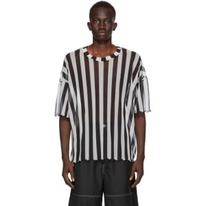 Sunnei Black and White Striped Over T-Shirt