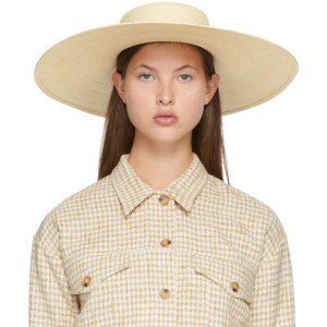 Maison Michel Beige Thin Ribbon Bianca Brisa Hat
