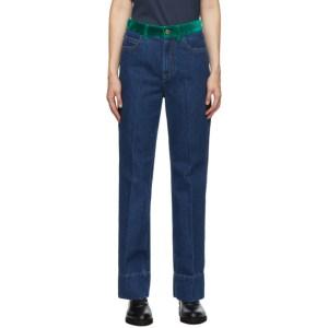 Wales Bonner Blue Contrast Waistband Jeans