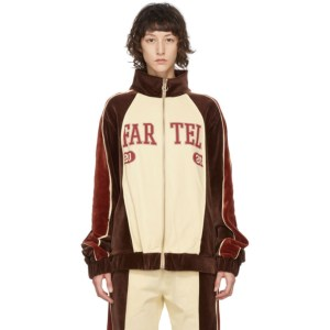 Telfar Brown and Off-White Velour Track Jacket