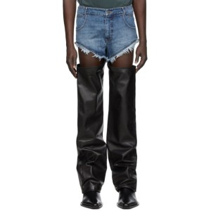 Telfar Blue and Black Leather Thigh Hole Trousers