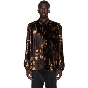 CMMN SWDN Brown and Beige Velvet Cedric Shirt