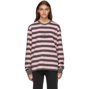 Noon Goons Grey and Pink Stripe Jalama Long Sleeve T-Shirt