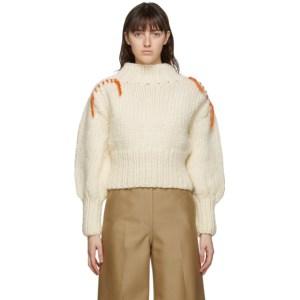 Victoria Victoria Beckham Off-White Wool Whipstitch Sweater