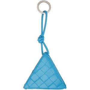 Bottega Veneta Blue Intrecciato Triangle Keychain