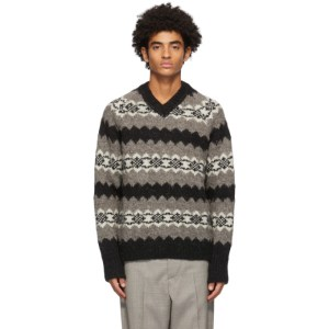 Our Legacy Taupe and Black Wool Greenland Stripe V-Neck Sweater