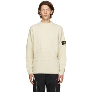 Stone Island Off-White Wool Mock Neck Sweater