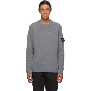 Stone Island Grey Wool Crewneck Sweater