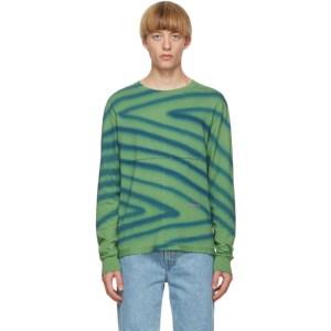 Eckhaus Latta Green and Blue Lapped Long Sleeve T-Shirt